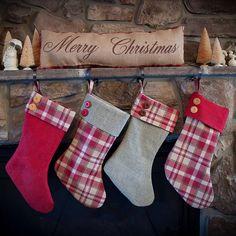 Burlap Christmas Stocking / Handmade / Burlap and Plaid Stocking / Rustic Stocking by WhaChaMaDoodles on Etsy https://www.etsy.com/listing/248252101/burlap-christmas-stocking-handmade