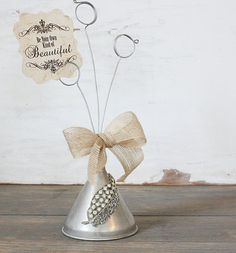 Repurposed Vintage Aluminum Funnel Photo Rhinestone Adorned...LOVE!