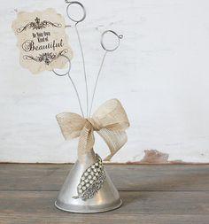 Repurposed Vintage Aluminum Funnel Photo Rhinestone Adorned...LOVE!