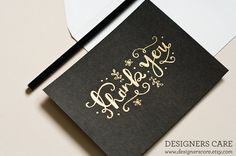 """Set of FOUR Hand Embossed Thank You Cards with Envelope - """"Thank You"""". $15.95, via Etsy."""
