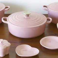 Pink Le Creuset! Definitely want this set for my home one day!