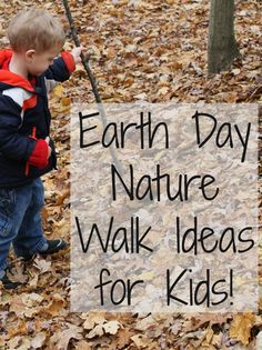 So Many Nature Walk ideas for kids! These ideas are great for Earth Day - and this post has links to TONS of Activities for Earth Day!