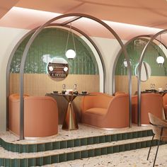It's all about the curves in this restaurant concept, designed by Kazakhstan-based for Featuring corrugated… Restaurant Interior Design, Commercial Interior Design, Commercial Interiors, Design Hotel, Restaurant Interiors, Design Retro, Cafe Design, House Design, Design Design