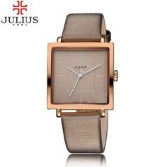 2017 Popular Julius Square Dial Women Dress Watches Charm Lady Girl Leather Wristwatch