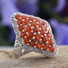 Jalisco Cherry Fire Opal and White Topaz Ring in Platinum Overlay Sterling Silver (Nickel Free)
