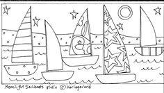 Rug Hook Paper Pattern Moonlight Sailboats Folk Art Abstract Primitive Karla G | eBay