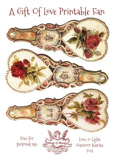 Wings of Whimsy: Free Printable Victorian Rose Fan - A Gift Of Love - Part 1 - free for personal use