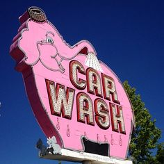By Stephen Wilkes. Sign Off, Emerald City, Pink Elephant, Street Signs, Car Wash, Funny Signs, Pink Color, Seattle, Neon