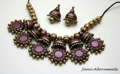 Janvi adornments Funky Jewelry, Jewelry Art, Handmade Jewelry, Jewelry Design, Fashion Jewelry, Ceramic Jewelry, Polymer Clay Jewelry, Antique Jewelry, Indian Wedding Jewelry