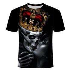 King Skull Kiss T-Shirt | Skullflow Skull Shirts, 3d T Shirts, Funny Tshirts, T Shirt King Queen, Skull Print, Summer Tshirts, Harajuku Fashion, Casual Shirts, Rock Bands