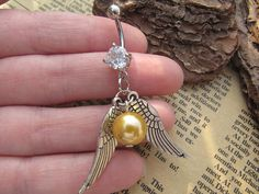Harry Potter Golden Snitch Charm Belly Button Ring