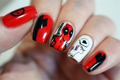 Deadpool Nails by from Nail Art Gallery Hot Pink Nails, Fancy Nails, Red Nails, White Nails, Hair And Nails, Halloween Nail Designs, Halloween Nails, Unicorn Nails Designs, Black And White Nail Art