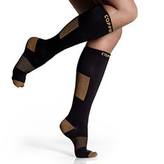 Cool Yoga Tricks CopperJoint Efficiency Compression Socks - Copper Infused Fortify - GUARANTEED For Running, Crossfit, Athletic, Shin Splint - PREMIUM Graduated Clinical Grade - Under Knee Excessive - Unisex - Pair L-XL CopperJoint Calf Compression Sleeve