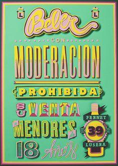 """Poster """"Beber con Moderación"""", por Plenty para Fernet Lusero"""