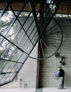 How the door window wall opens with the industrial style turn wheel - only half . - How the door window wall opens with the industrial style turn wheel – only half a wheel, allowing - Detail Architecture, Interior Architecture, Interior And Exterior, Interior Design, Industrial Architecture, Minimalist Architecture, Building Architecture, System Architecture, Futuristic Architecture