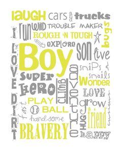 All Boy Subway Art for Nursery or Bedroom Digital by MyPoshDesigns