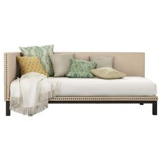 Simple and sophisticated, the Mid-Century Upholstered Daybed from DHP brings the late 18th century classic style to life! With its streamlined silhouette, soft linen fabric and nail head trim, the daybed's refined profile suits any décor style. Built with a sturdy metal frame, this versatile twin-size daybed offers extra seating and sleeps one comfortably. A perfect fit for any bedroom, living room or guest room, the DHP Mid-Century Upholstered Daybed is grand in both scale...
