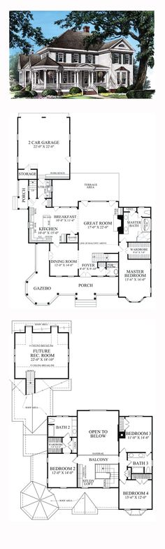 Victorian Style COOL House Plan ID: chp-47682 | Total Living Area: 2825 sq. ft., 4 bedrooms and 3.5 bathrooms. #victorianhome