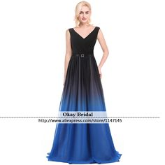 Find More Prom Dresses Information about Long Ombre V Neck Chiffon Prom Dresses 2016 Evening Gown Sash Real Photo  Dress Vestido De Festa Lace up A line Long Prom Dress,High Quality dress boa,China dress up time prom dresses Suppliers, Cheap dresses bow from OkBridal Dress Co.,Ltd on Aliexpress.com