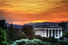 ~ The Temple of Hephaestus, Athens ~ It's probably the same sunset view, for the last years… Athens Hotel, Athens Greece, Parthenon, Acropolis, Greece Travel, Middle Ages, Temple, Sunset, City