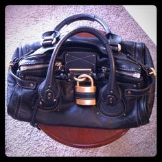 221d4cb3b46 ... Black Pebbled Leather Chloe Paddington Satchel. Previously Owned. And  In Mint Condition! Has gold tone hardware and side buckles