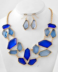 {Color of the week}Sapphire Chips Necklace Set