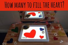 How many gems/hearts will fill the different size hearts. Finger Gym, Early Years Classroom, Eyfs Classroom, Mirror Box, Lightbox, Year 2, Maths, Fill, Valentines Day