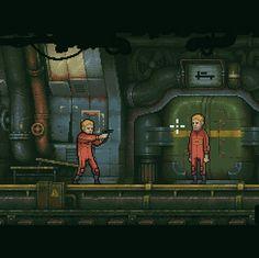 Bunker game - aiming gun - pixelart