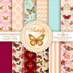 Butterfly Digital Papers, Papel Digital Mariposas, Mariposas Papel Digital, Digital Papers Butterfly, Patterns Scrapbooking, Floral Papers
