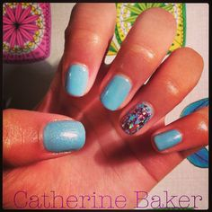 Shellac Azure Wish with Grapefruit Sparkle & Irresistible Foil  #shellac #cnd #nail #nailart #sparkle #glitter