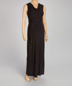 Take a look at this Black Maternity Cowl Neck Maxi Dress by Anticipation on #zulily today!