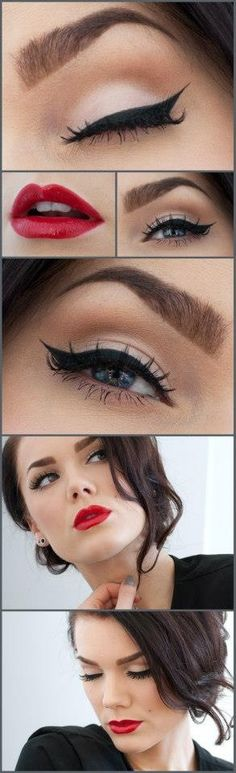 I love this vintage make-up look, probably my fave! Makeup Tips and Tutorials! Vintage Triple Winged Eyeliner and make-up Pretty Makeup, Love Makeup, Makeup Looks, Hair Makeup, Makeup Ideas, Makeup Tutorials, Gorgeous Makeup, Classy Makeup, Makeup Style