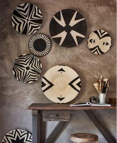 Patterned basket collection hanging on wall