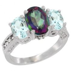 10K White Gold Natural Mystic Topaz Ring Ladies 3-Stone Oval 8x6mm with Aquamarine Sides Diamond Accent, sizes 5 - 10