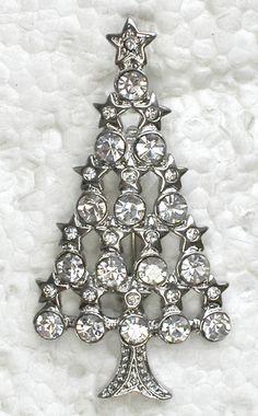 Clear Rhinestone Crystal Christmas Tree Pin Brooch G281 | eBay