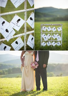 i like how rustic the frame is--cute idea for escort cards