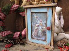 "Key Cabinet ""Christmas Miracle""-Key Box-Vintage Style-Winter Decoration-Entryway Christmas Decor"