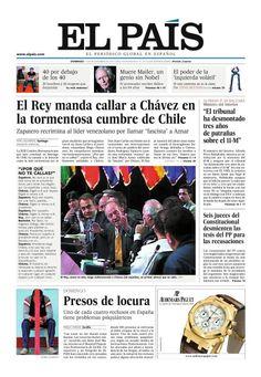 El Rey manda a callar a Chávez en la tormentosa cumbre de Chile. El País, Nacional, 11 noviembre 2007