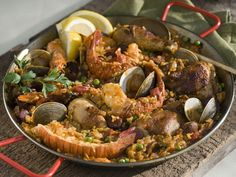 Paella with Seafood, Chicken, and Chorizo Recipe : Tyler Florence : Food Network - FoodNetwork.com