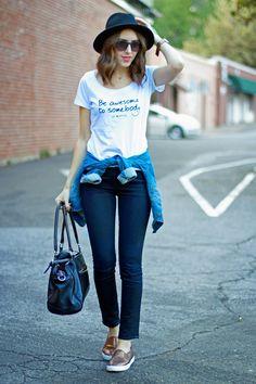 Kacie's Kloset Blog: Graphic Tee | Black Jeans | Denim Jacket tied at waist | Black Wide Brim Hat | Metallic Sneakers