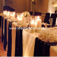 Head Table - ivory linens, black runners, hanging crystals, hydrangea, rose petals and candles Head Table Wedding Decorations, Head Table Decor, Head Tables, Decoration Table, Wedding Centerpieces, Tall Centerpiece, Trendy Wedding, Our Wedding, Dream Wedding