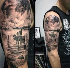 A Lonely Girl Starring At Family. This tattoo is great yet heartbreaking. The lonely girl cherish the family time by sitting and watching a cute family fishing.