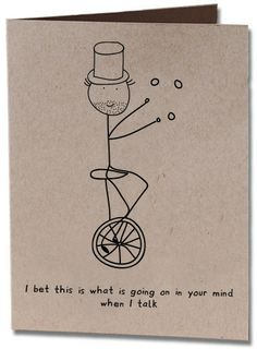 Unicycle Thank You Card $3.50 www.spicyhobo.com