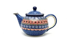 Polish Pottery Teapot  34 qt  Aztec Sun -- Click the pottery image to find out more