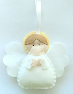 Felt Angel by artameri Felt Christmas Decorations, Felt Christmas Ornaments, Christmas Angels, Christmas Fun, Angel Crafts, Christmas Projects, Felt Crafts, Holiday Crafts, Felt Angel