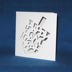 Hanukkah Dreidel Card, Happy Hanukkah, Hand Cut Card    Celebrate all eight nights of Hanukkah with this card! Each card is cut by hand out