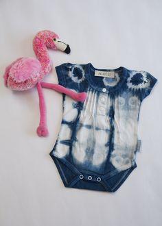 Indigo dyed onesie - newborn Indigo Dye, Onesies, Rompers, Pattern, Cotton, Fashion, Maori, Moda, Fashion Styles