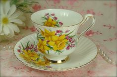 Lovely Fine Bone China Porcelain Yellow by HappyGalsVintage