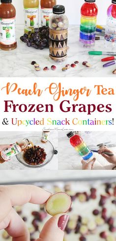 Hi, guys! I'm here today with an easy and flavorful snack recipe perfect for those warm days: Peach Ginger tea-soaked frozen grapes!  I'm cutting my red grapes in half and soaking them in my favorite Peach Ginger tea for a lovely infusion of flavor and a little end-of-the-day energy boost and since April is Earth Month, I'll also show you how I'm upcycling my tea containers into pretty on-the-go snack containers that you can use again and again! #HonestSustainabiliTEA #RefreshinglyHonest…