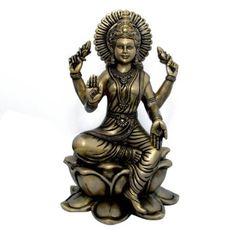Amazon.com: Hindu Goddess Lakshmi Sculptures Brass Figurines for Home Temple Mandir: Furniture & Decor